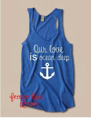 Our love is ocean deep navy women's tank. Military clothing