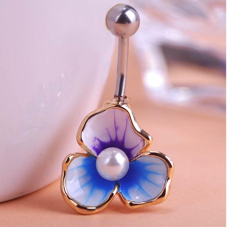 Wholesale Enamel Pearl Belly Button Rings Gold-color Flower Umbigo Anel Helix Women Girls piercings Sex Body Jewelry Bikini