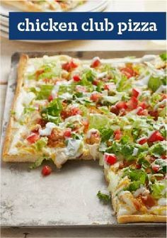 Chicken Club Pizza – Chicken, bacon, lettuce and tomato come together for a deli fave translated into a melty, hot pizza. Get all the flavors of a delicious club sandwich in every bite.