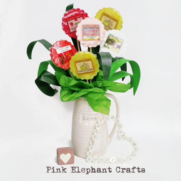 10 minute tutorial to make  gorgeous Yankee Candle taart wax melt bouquet, from the peg doll people at pinkelephantcrafts.wales
