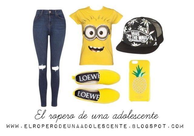 """Minion adiction"" by desi2003 on Polyvore featuring moda, Topshop, Loewe, Kate Spade y Vans"