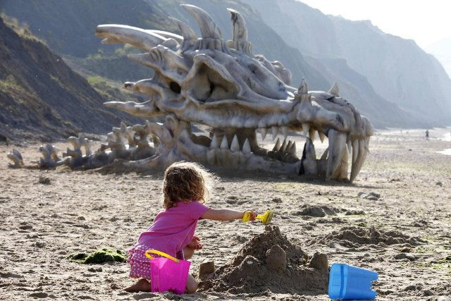 Giant Dragon Skull Washes Ashore to Promote GAME OF THRONES