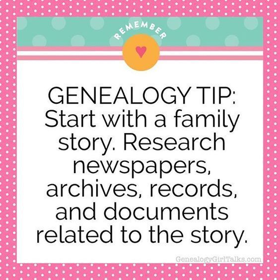 (1) GENEALOGY TIP: Start with a family story. Research newspapers, archives, records, and documents related to the story. #genealogy #familyhistory #an… | Pinterest