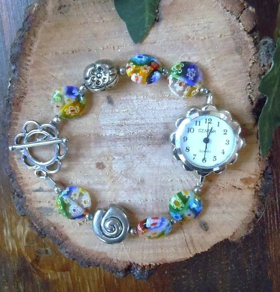 watch bracelet with colorful flower glass and by ilfiorecreativo