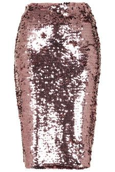 Pink Sequin Pencil Skirt - Skirts  - Clothing