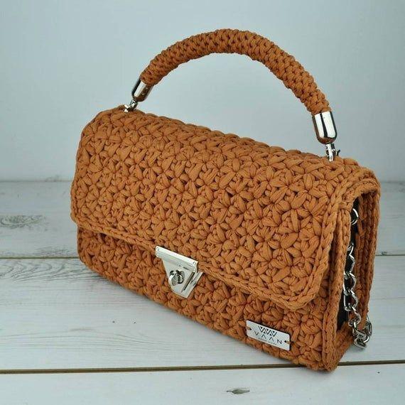 Handmade Brown Bag Crochet Bag Unique Bag Fashion Bag Handbag Shulder Bag Handmade Bag New Bag Bag Gift For Her Crochet Purse Bags Brown Bags Unique Bags