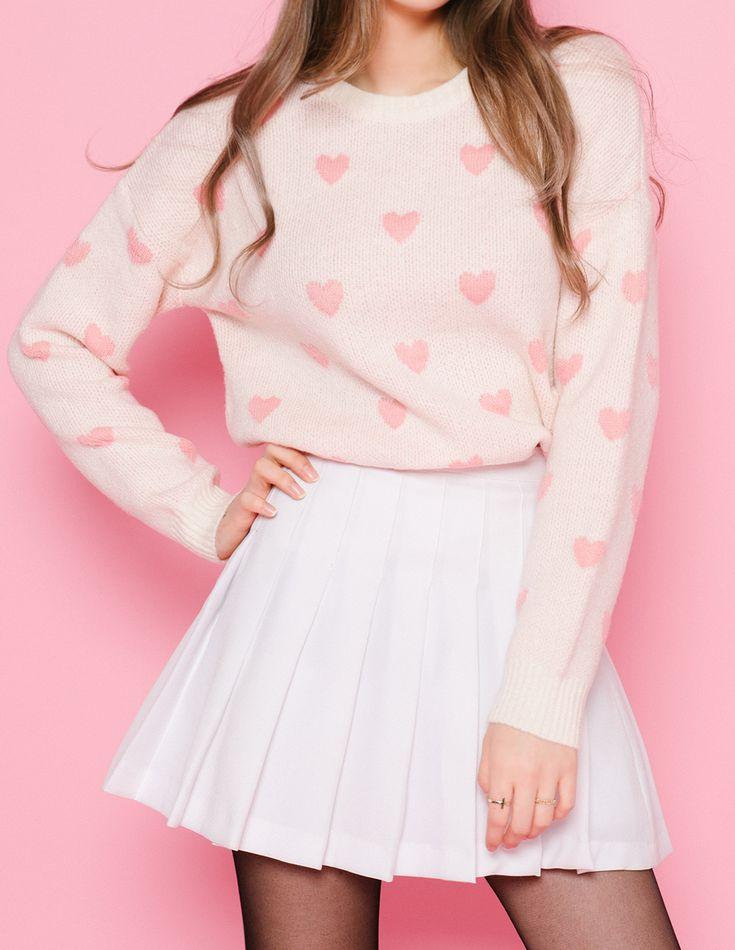 mixxmix.us heart pattern knit sweater classic... : perchance