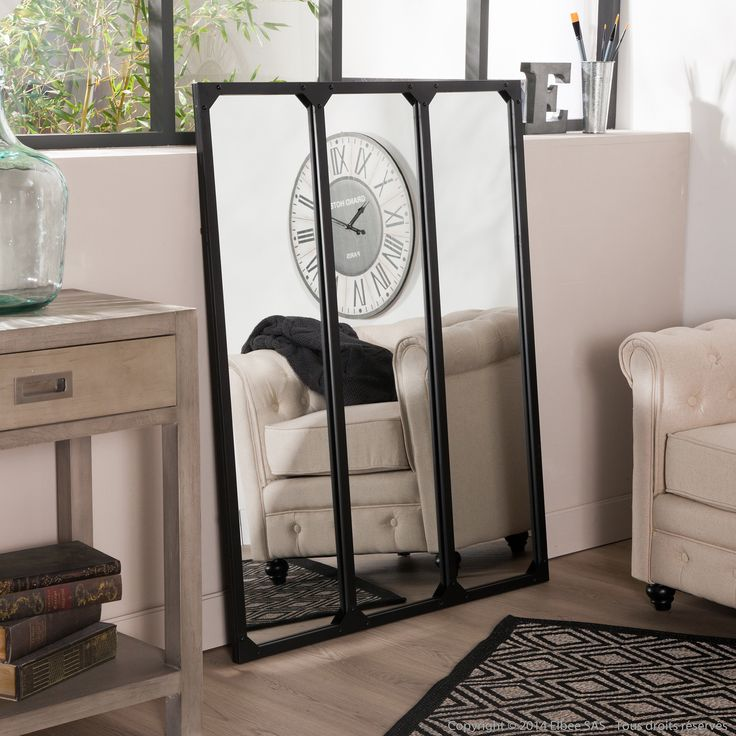miroir fen tre triptyque en m tal rectangulaire 120x95cm. Black Bedroom Furniture Sets. Home Design Ideas
