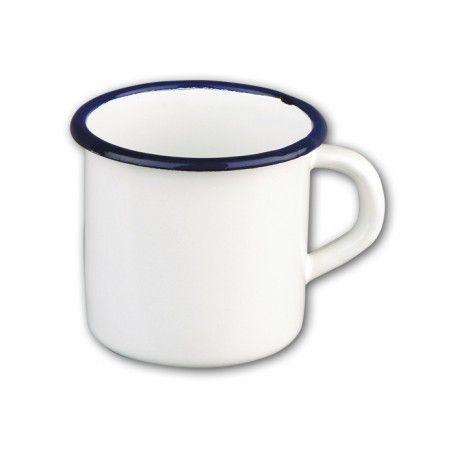4 mugs ø 8 en tôle émaillée blanc/bleu