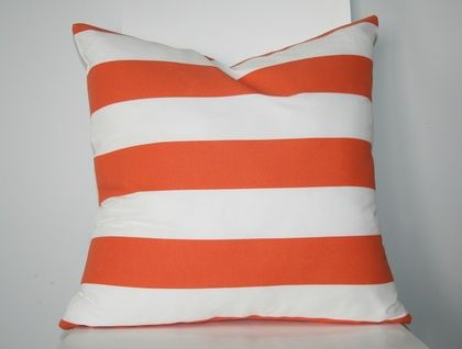 Striped cushion cover, Orange and White, Bright and ready for summer!