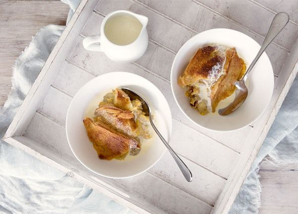 Banana, Baileys and White Chocolate Bread and Butter Pudding