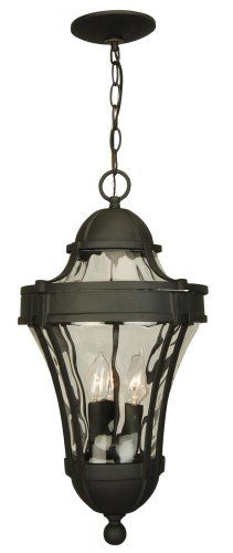 [Craftmade] Craftmade Z4221 05 Hanging Lantern With Clear Water Glass Shades,  Black · Outdoor Hanging LanternsOutdoor LightingTraditional ...