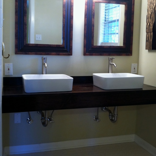 Diy floating vanity with vessel sinks home ideas Floating bathroom vanity