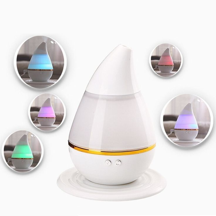 Amazon | 超音波式 アロマ 加湿器 卓上ミニ ディフューザー 加湿器 車載用加湿器 USB 接続 多色変換LED 250ML静音空焚き防止機能搭載(しずく型)(室内・車内) (ホワイト) | アール® | 加湿器