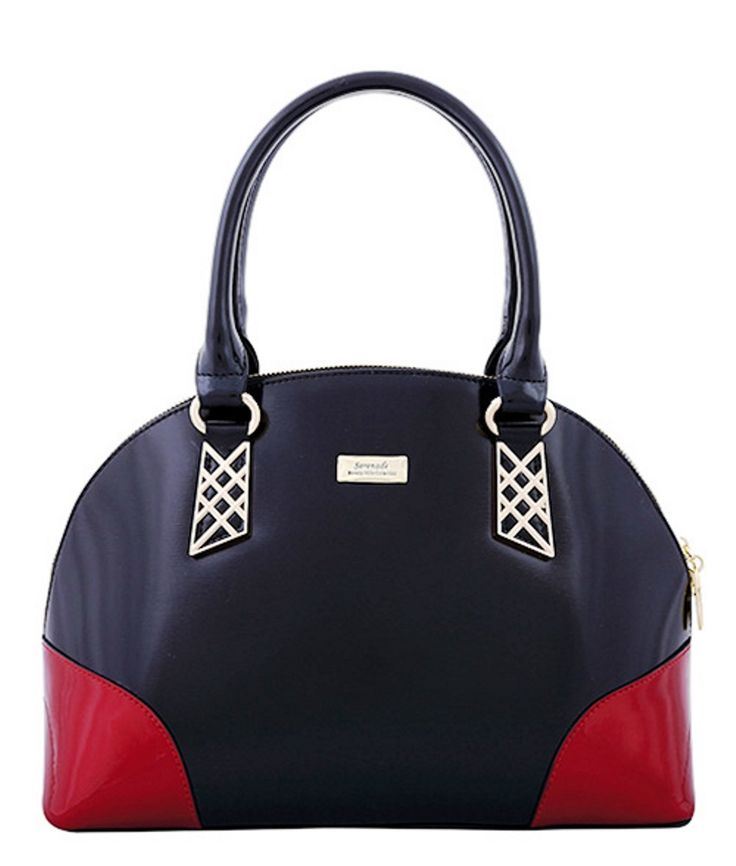 Serenade Audrey Duo Colour Classic Dome Leather Handbag. SH57-7503.