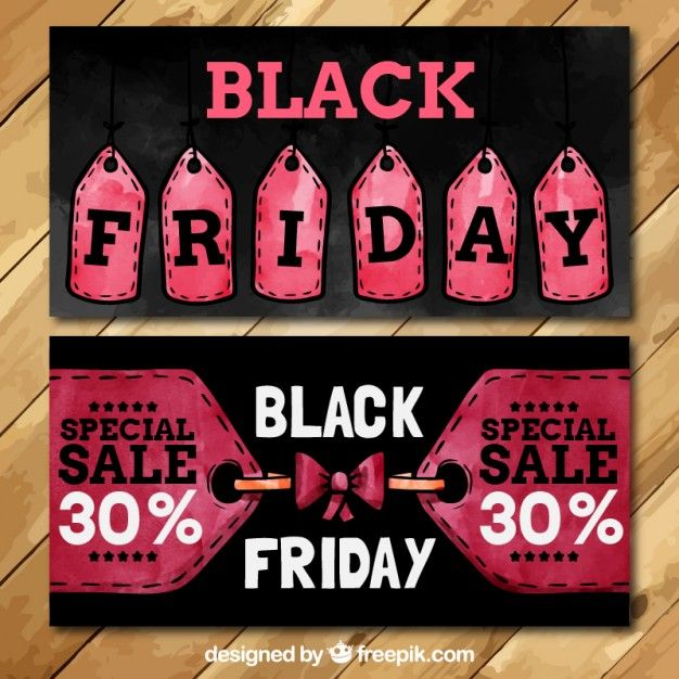 Free vector Black friday banners in watercolor style #27475