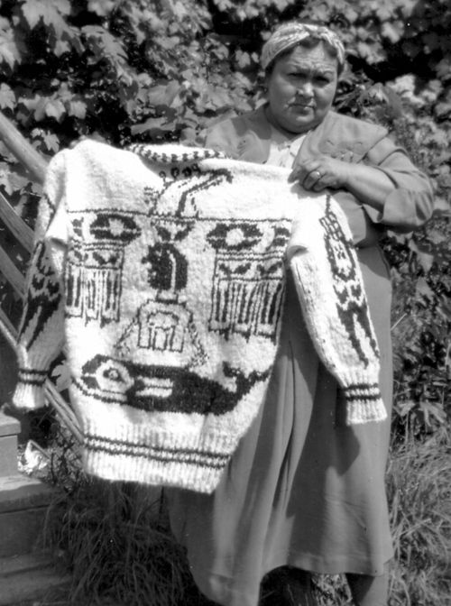 b photo of traditional Cowichan sweater (BC, Canada)...whale design...one of the nicest I've seen
