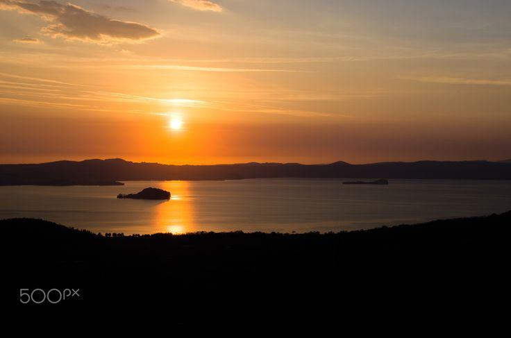 Lake Bolsena sunset aerial view (Lazio - Viterbo Italy) - Lake Bolsena sunset aerial view (Lazio - Viterbo Italy)