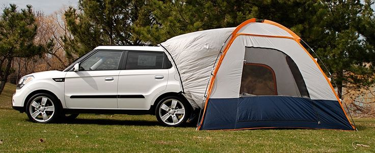 Hatchback Tent MSRP - $324.32  Quickly transform your Kia vehicle into a convenient and affordable RV! The innovative hatchback tent wraps around the cargo area of your vehicle, allowing total access to the truck for storage or as additional sleeping spaces.