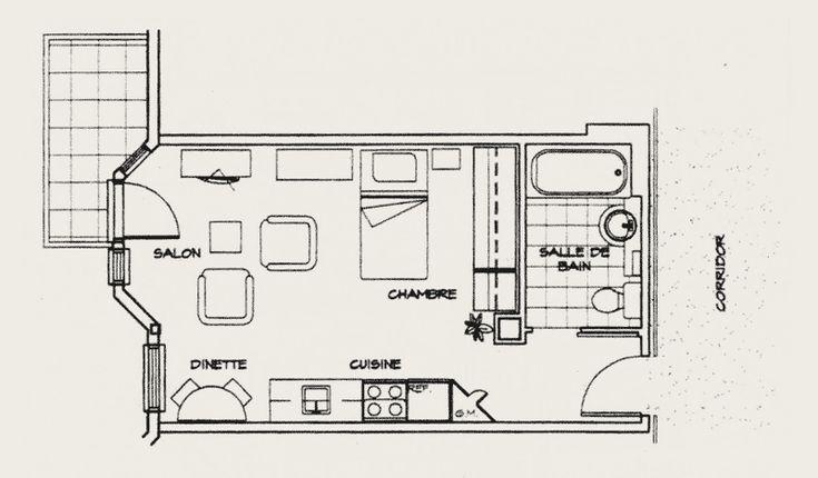 Les 19 meilleures images propos de studio sur pinterest plans d 39 appartement studios et - Cloison studio ...