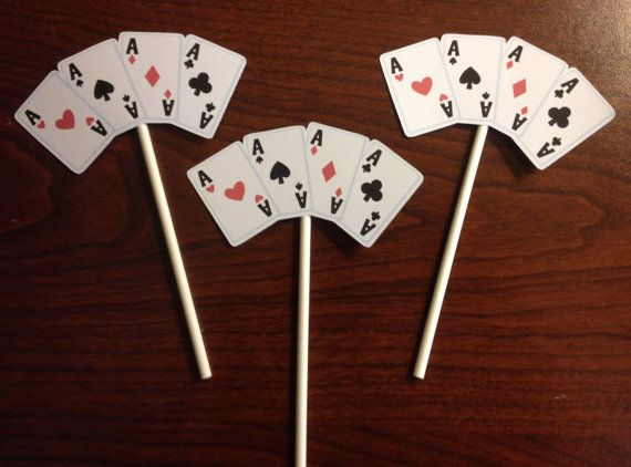 Casino Night Cupcake Toppers Set of 12 by 2CreativeGirls on Etsy