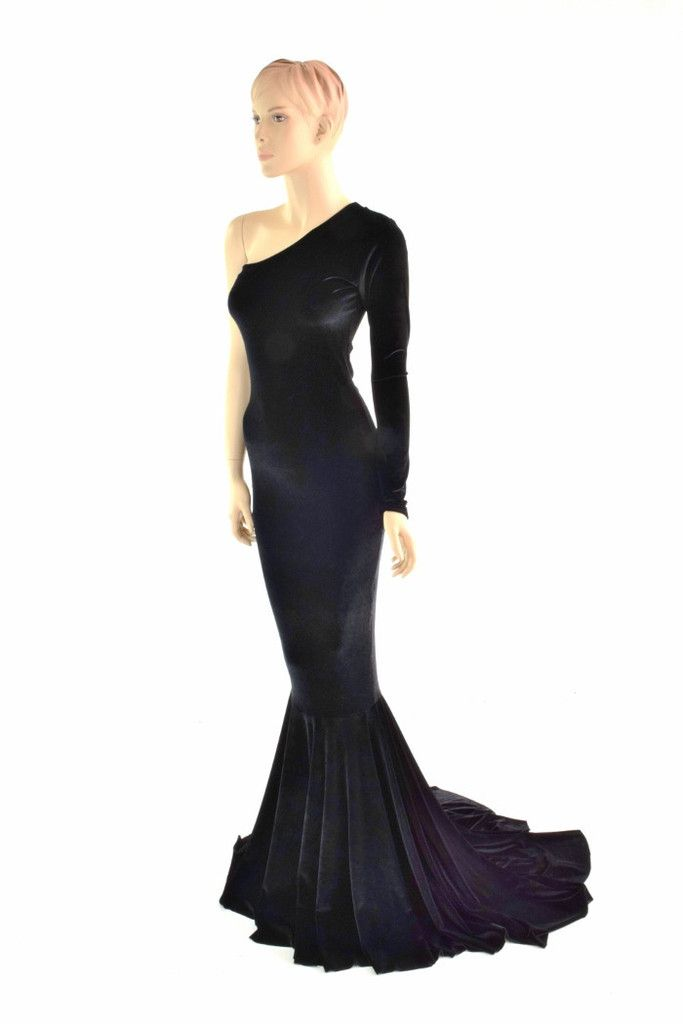 284ceaa3fc One Shoulder Black Velvet Puddle Train Gown – Coquetry Clothing ...