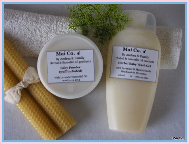 Mai Co.'s Baby Wash Gel and Baby Powder....made with natural ingredients so it is safe and gentle to use on baby's delicate skin! Scented with delicate fragrances of Lavender & Mandarin Essential Oils...