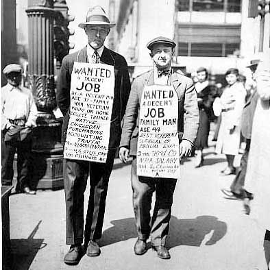 The Great Depression is a name given to the time after Wall Street crash. Millions of people lost their jobs and were forced to go on the streets and ask for any sort of job. Billions of dollars were lost devastating the World's economy.