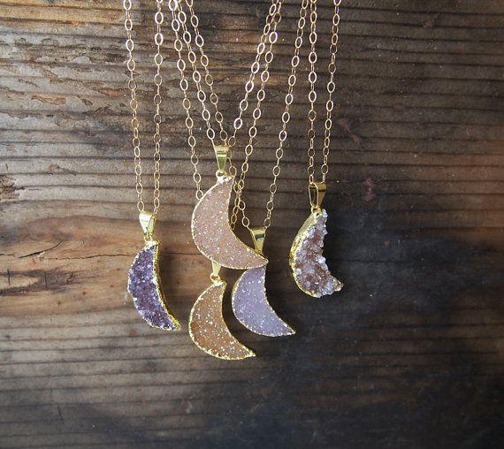 Collier de pierre gemme Agate grande lune Druzy or collier or rempli collier Crescent Moon charme