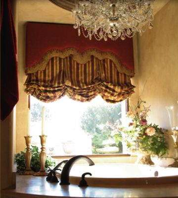 Balloon Shades With Shaped Cornice U2013 This Is Luxury And Opulence . The  Cornice Makes This Window Covering. Would Be Great For A Bathroom That Is  Formal Or A ...