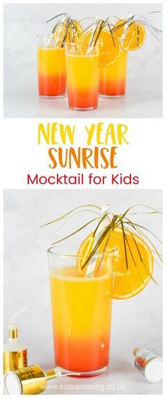 3 ingredient alcohol free easy mocktail for kids - perfect for New Years Eve and other celebrations - Eats Amazing UK #mocktail #newyearseve #newyears #kidsdrink #kidsfood #fruitjuice #grenadine #funfood #creativefood #partyfood #drinkrecipe #rdrink #sunrise #celebrate #kidsparty