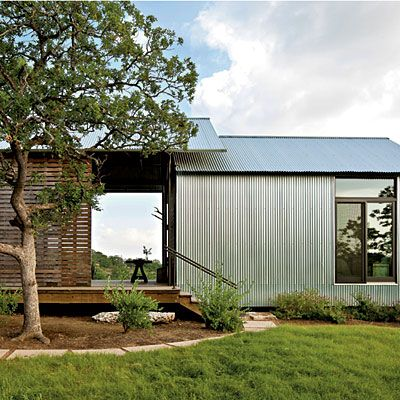 Durable Exteriors The outdoor spaces are the true workhorses of these homes. They create shade, encourage cross-ventilation, and expand the living space without expanding the conditioned space. The exterior of the homes combine corrugated, galvanized metal with Eastern red cedar for a modern look thats also durable.