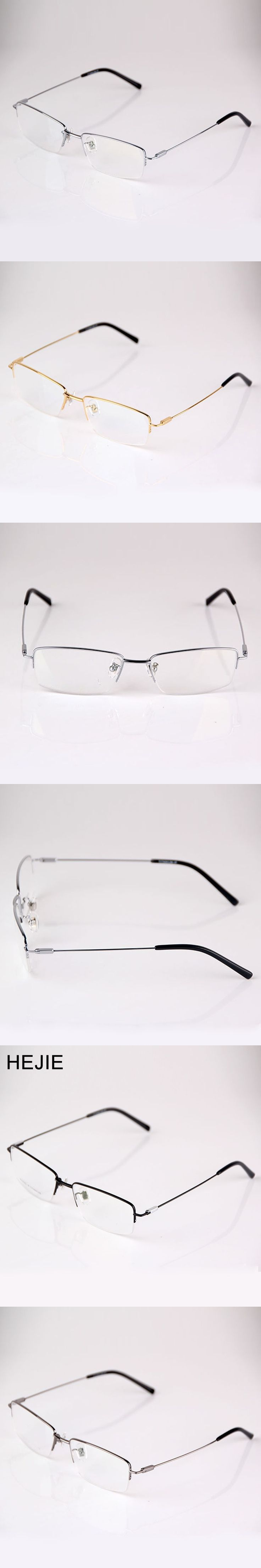 HEJIE Grade Men Pure Titanium Eyeglasses Frames Brand Half Rim Clear Lens Optical Glasses Frames For Male Size 54-17-140mm Y9065