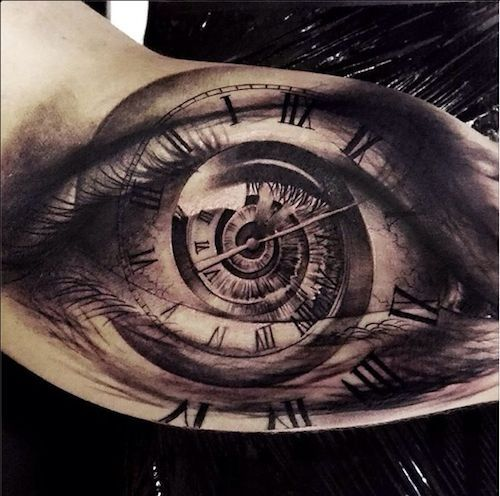 Eye Tattoo with Clock and Roman Numerals