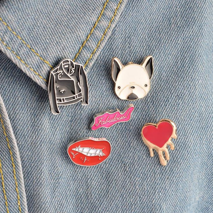 "Pins are an excellent way to personalize what you already have. This Hard Femme five pack of pins contains a leather jacket, a dripping heart, a pug's face, ""fabulous"", a pair of lips!"
