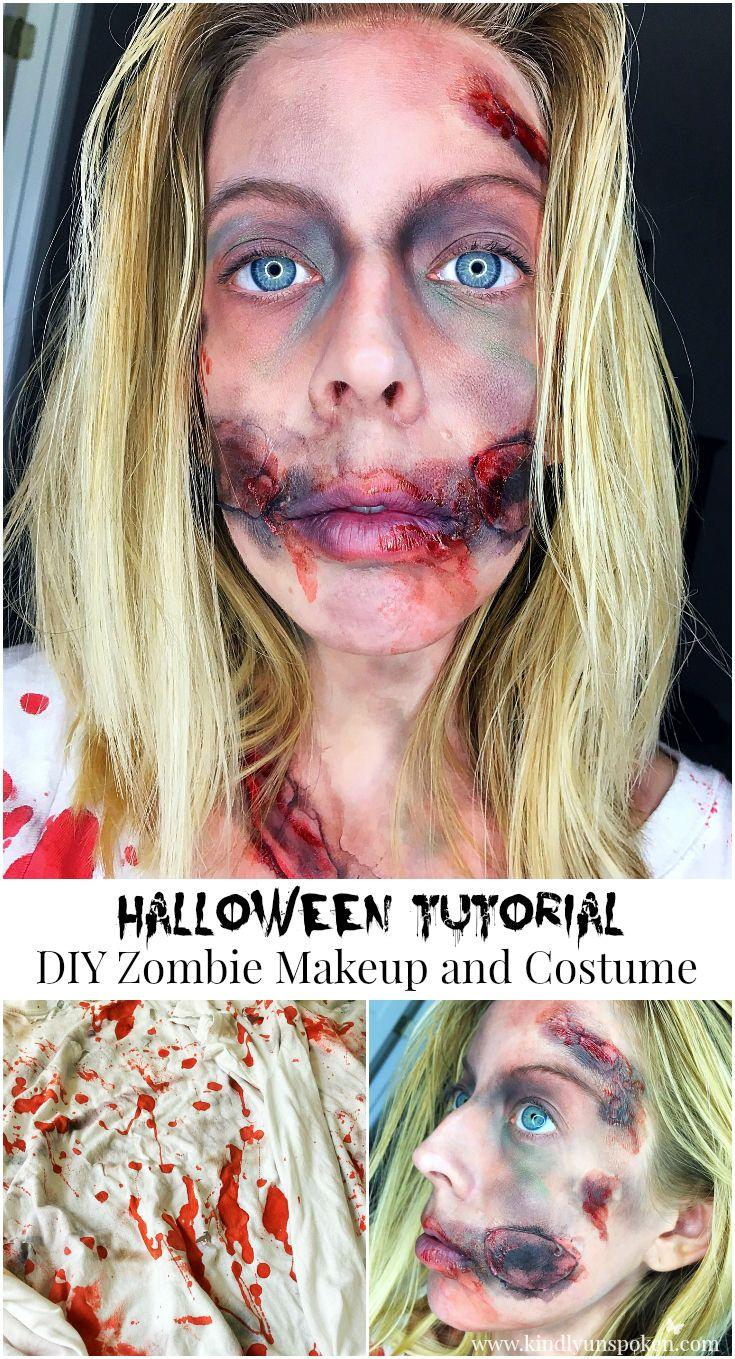 Kindly Unspoken | Halloween Tutorial-DIY Zombie Makeup and Costume | http://www.kindlyunspoken.com