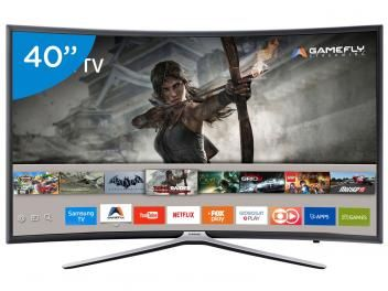 "Smart TV LED Curva 40"" Samsung Full HD 40K6500 - Conversor Digital 3 HDMI 2 USB Wi-Fi"