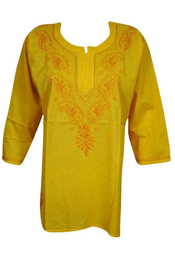 ac1057dbfa3 Mogul Interior Womens Tunic Top Cotton Chikan Floral Embroidered Bohemian  India Kurta S