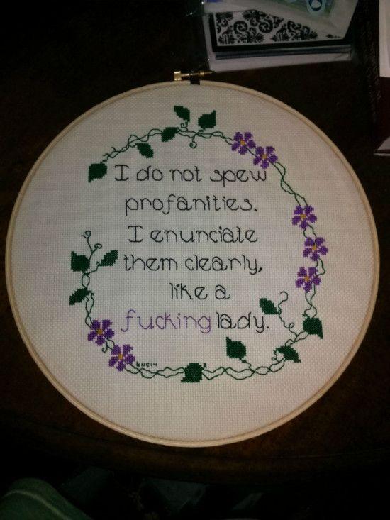Profanities cross stitching