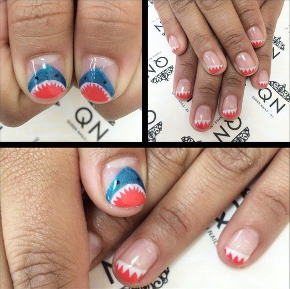 Pin for Later: 10 Terrifyingly Cool Shark Week Nail Art Looks Fanged French Manicure Source: Instagram user queennailsnj