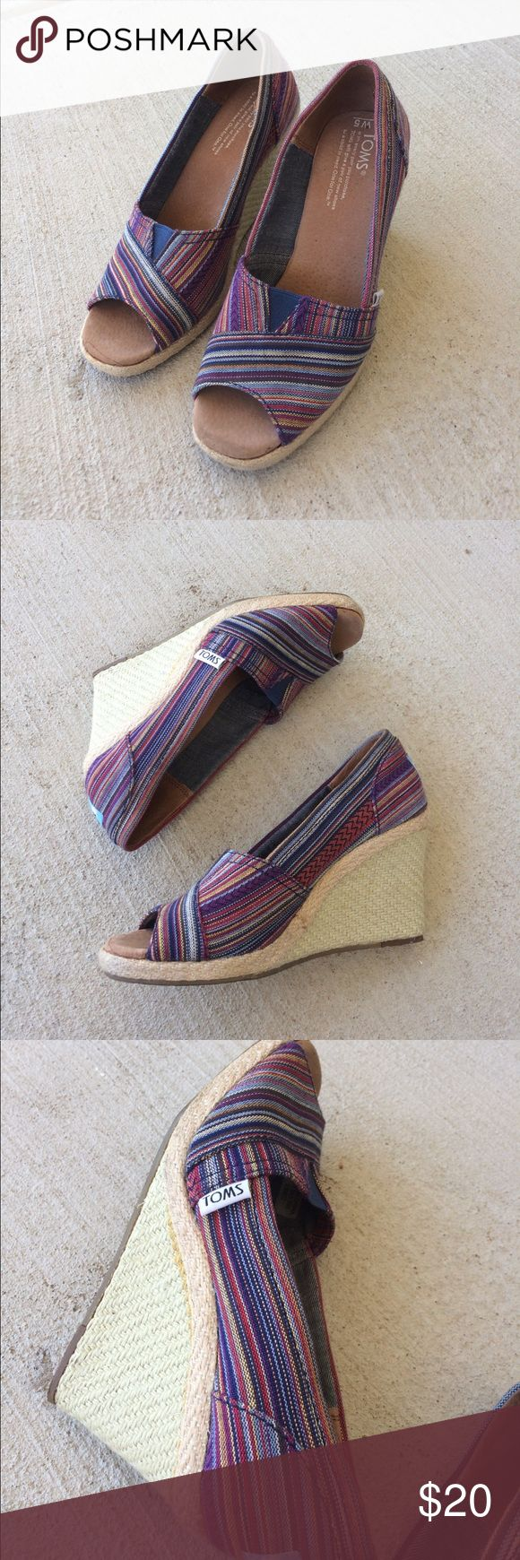 🎀 TOMS Wedge Heels Beautiful multicolor TOMS wedges. Slight stain wear on the toe of the right shoe. Also a little staining on the wedge of the left shoe. Otherwise great condition. TOMS Shoes Wedges