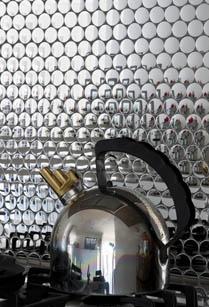 Metallic penny tile kitchen splashback....too gorgeous