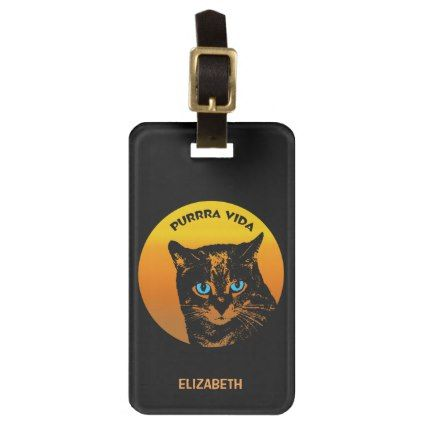 Purring Cat And Sun Purrra Vida Pure Life Cool Luggage Tag - cat cats kitten kitty pet love pussy