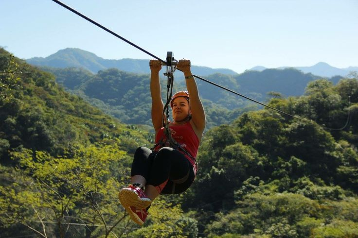 Zip lining through the Sierra Madre Mountains.