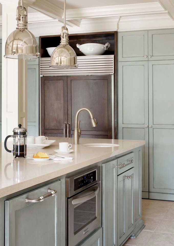 kitchen: Blue Cabinets, Kitchens Design, Cabinets Colors, Lights Fixtures, Paintings Cabinets, Blue Kitchens, Gray Cabinets, Pendants Lights, Kitchens Cabinets