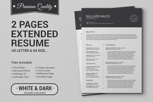 2 Pages Resume CV | Extended Pack by SNIPESCIENTIST on @creativemarket Professional, modern, stylish and creative resume design template for your new job. Use this simple ready to use layout – only add a picture, your profile and your skills – or grab some ideas.