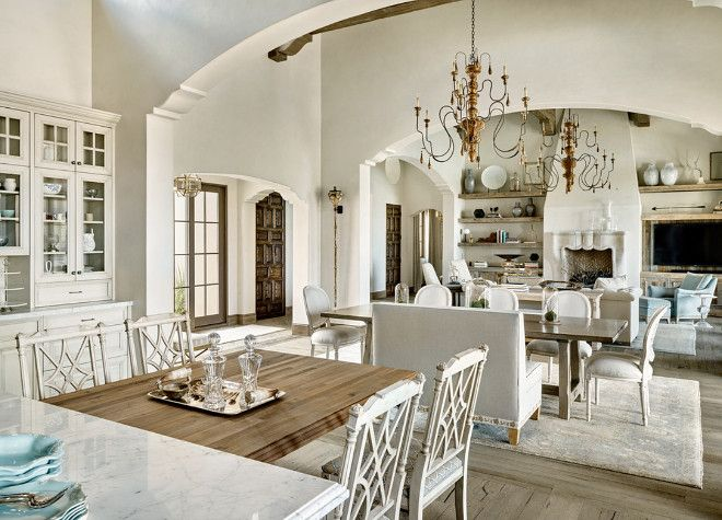 Love the openness & the arched opening -- French Interiors. Open layout French Interiors. Open floor plan French Interiors. Open spaces French Interior ideas. #FrenchInteriors DuChateau Floors Kim Scodro Interiors