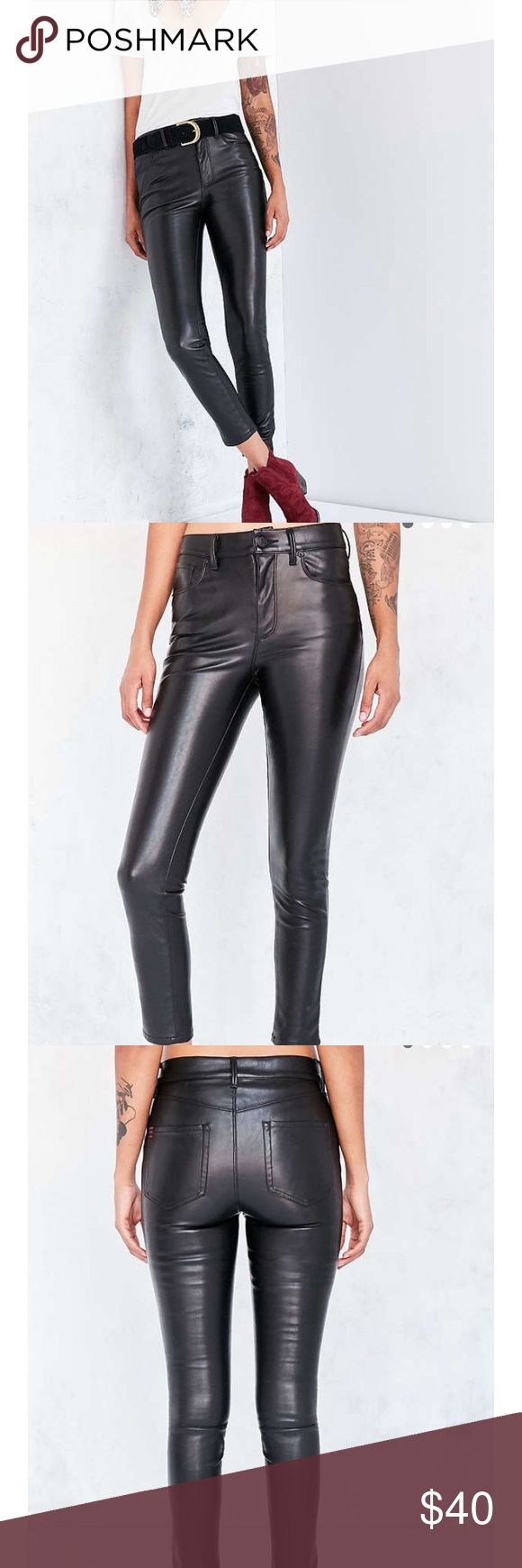 UO Vegan. Black Leather Leggings NWT.  Trendy high ride cropped look. Sold out online.  Offers welcome! Urban Outfitters Pants Leggings