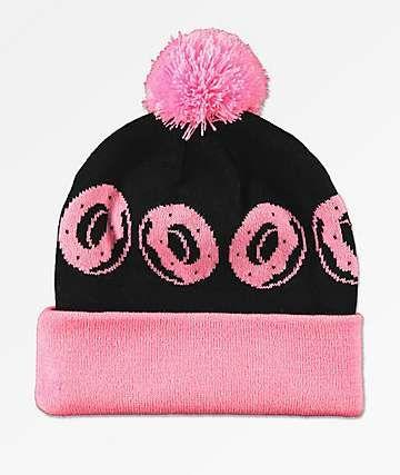 8d53af6a5f77 Odd Future Allover Donuts Pink   Black Pom Beanie