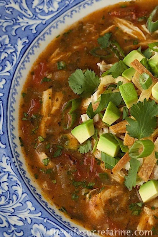 Chicken Tortilla Soup (used flax/tortilla chips instead of tortillas, added carrots, bell peppers, celery, as well as baking soda and cream to cut acidity), should have added a few chipotle peppers too. BEST chicken tortilla soup ever. Seriously. -tb